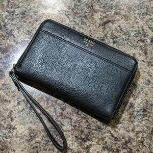 Fossil Black Leather Zip Around Wallet Clutch